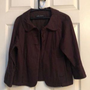 Larry Levine stretch. Cotton jacket brown Large